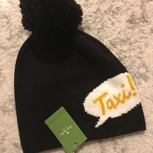 New Kate spade taxi beanie hat with pom Pom